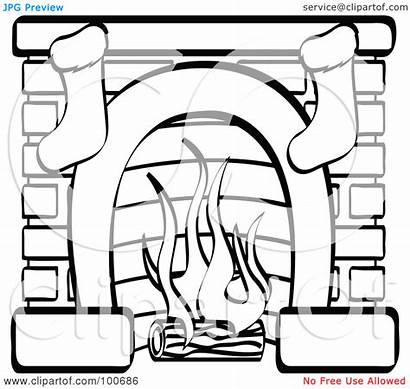 Fireplace Christmas Coloring Stockings Chimney Drawing Clipart