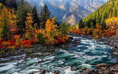 Mountain Fall Autumn Stream River Foliage Forest
