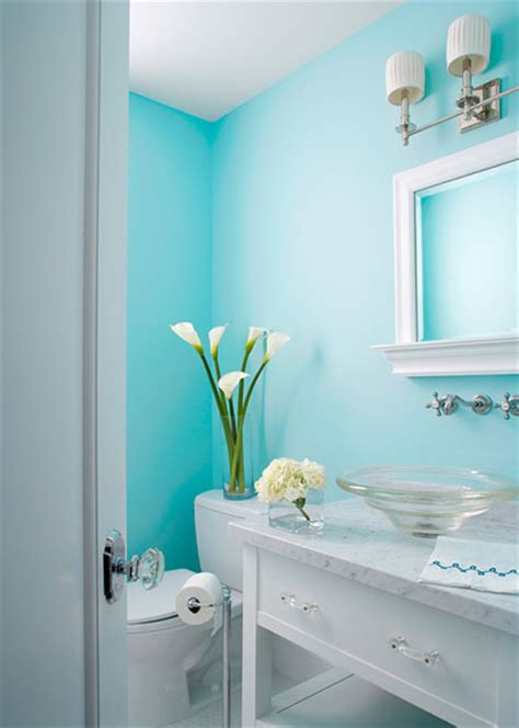 Gray White And Aqua Bathroom by Aqua Powder Room Cottage Bathroom Elizabeth