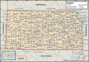 Kansas County Map with Cities