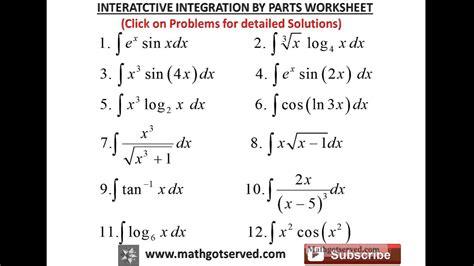 integration  parts interactive worksheet youtube