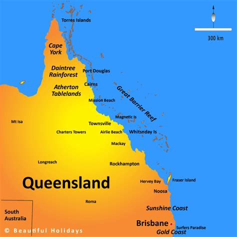 queensland map showing attractions accommodation
