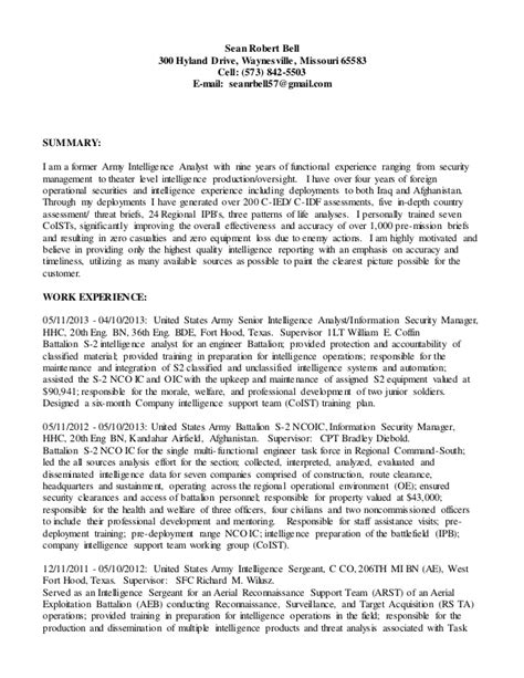 Intelligence Analyst Resume by S Intelligence Analyst Resume 2015
