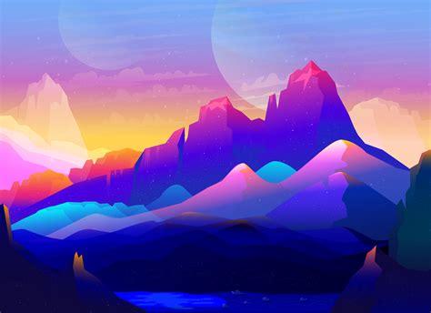 Wallpaper Mountains, Neon, Illustration, Colorful, Rocks