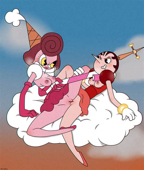 rule 34 areolae baroness von bon bon bottomless breasts brown hair candy cane cloud cuphead