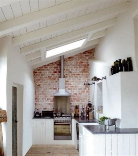 rustic brick backsplash for attic kitchen ideas and ceiling skylight features and white board