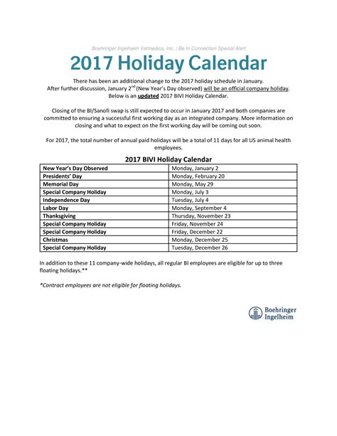 company vacation calendar templates