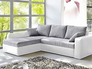 Graue Couch Wohnzimmer : ecksofa vida 244x174cm grau weiss schlafsofa sofa couch ~ Michelbontemps.com Haus und Dekorationen