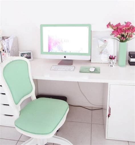 aqua green mint themed office the chair