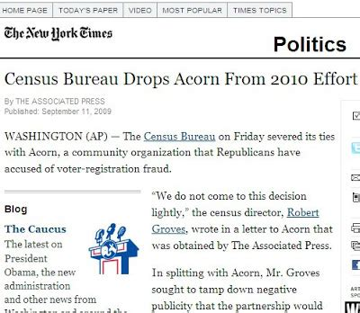 census bureau new york doug ross journal new york times reports census bureau fired acorn fails to say why