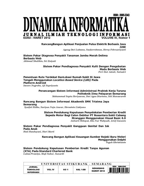 Vol 4 No 1 (2012) | Jurnal Dinamika Informatika