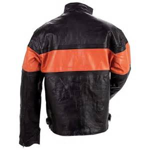 mens leather riding jacket mens leather motorcycle riding jacket orange stripe ebay