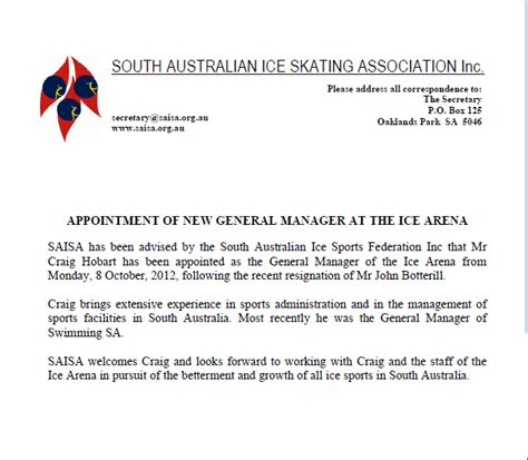 appointment   general manager   ice arena