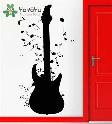 Wall Murals Rock And Roll by Removable Wall Stickers Vinyl Decal Guitar Notes Rock
