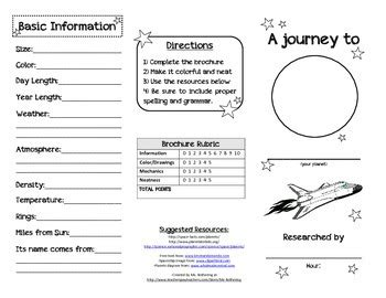 Planet Brochure Template by Planet Research Brochure By Ms Rothering Teachers Pay