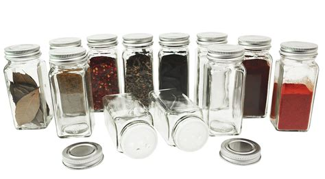 Glass Spice Jars With Shaker Lids by 12 Square Glass Spice Bottles 4oz Jars With Silver Metal