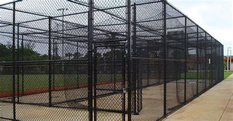 vinyl coated chain link fence is excellent for batting cages at sports fields in parks as well
