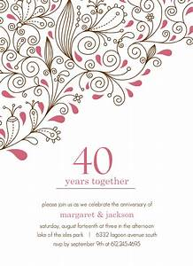 pink floral 40th anniversary party invitation template With free printable 40th wedding anniversary invitations