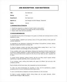 Duties Of A Waitress To Put On A Resume by Doc 600730 Waiter Description 6 Waitress Waitress Description Template Free