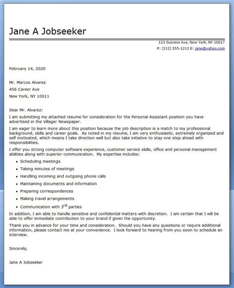 personal assistant cover letter sample creative resume