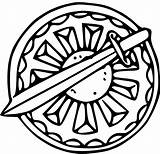 Shield Coloring Ctr Sword Clip Pages Clipart Viking Colouring Printable Lds Triumph Cliparts Template Link Library Magic Popular sketch template