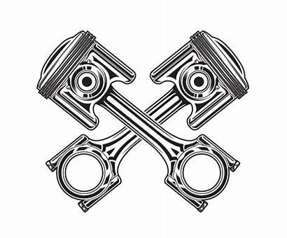 Piston Vector Engine Tattoo Motorcycle Clipart Honda