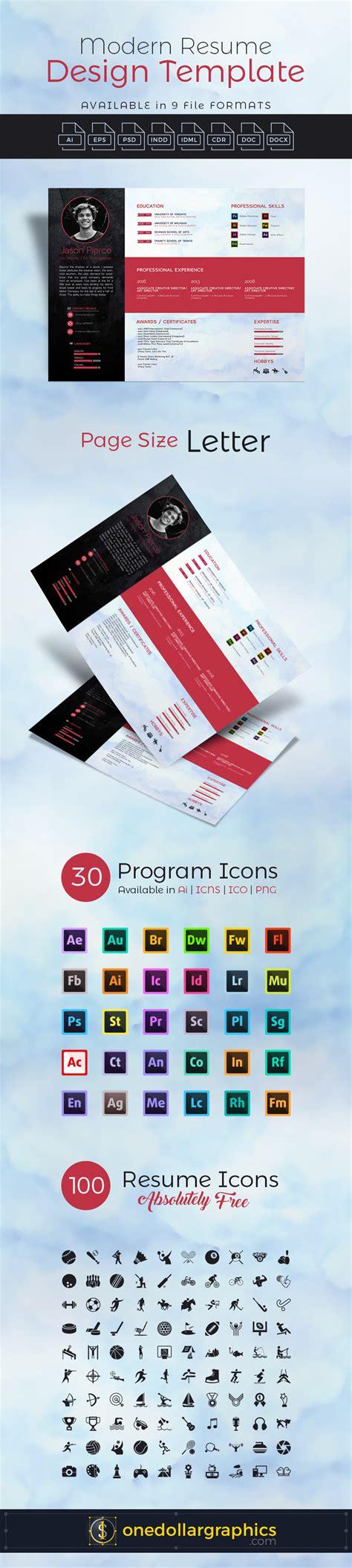 modern resume cv design template in psd ai eps indd