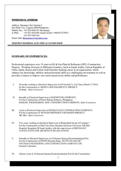 vivencio atienza updated resume 2016