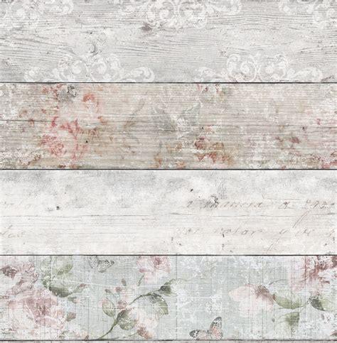 grey pink distressed floral wood flat wallpaper
