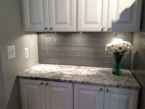 gray subway tile kitchen backsplash grey glass subway tile backsplash and white cabinet for 6913