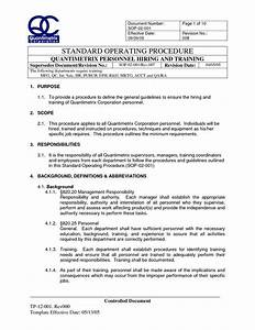 Iso standard operating procedures template sop 02 001 for Standard operating guidelines template