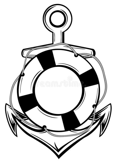 Anchor and ring-buoy stock vector. Illustration of buoy