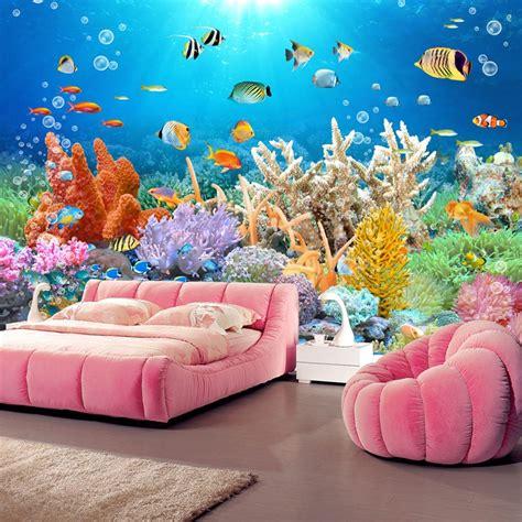 buy custom  mural coral reef fish tank