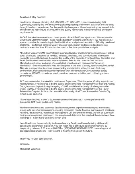 cover letter quality engineer michael weathers