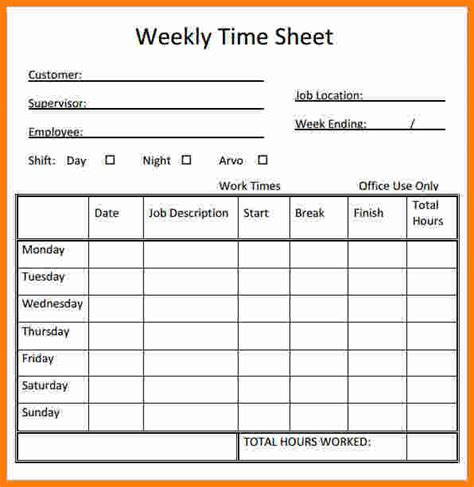 weekly time sheets  printable printable pages