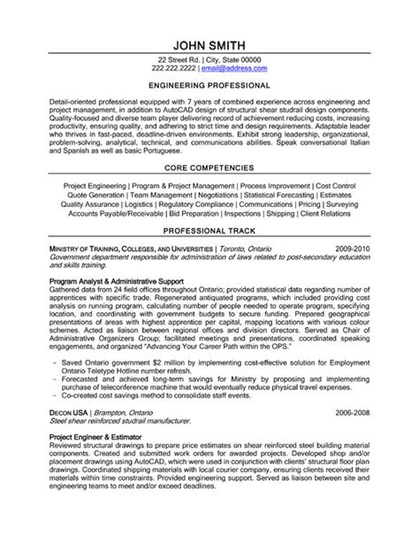 professional engineer resume template competencies