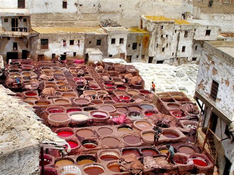 leather tannery  fes el bali  fez morocco encircle