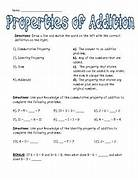 Associative Property Of Multiplication Worksheets 4th Properties Of Addition Worksheet 2 Identity Addition Worksheet On Addition Properties Math Addition 12 Best Images Of Distributive Property Worksheets Print