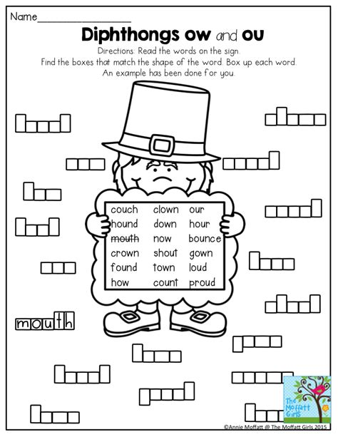 diphthongs ow and ou box up the words a way to build