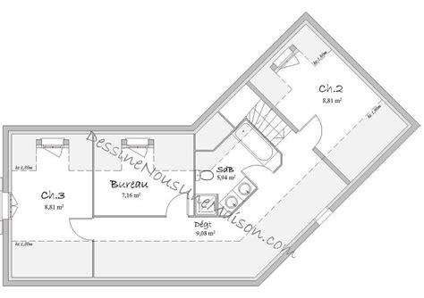 plan maison etage 3 chambres gratuit plans de maisons individuelles avec étage ou combles