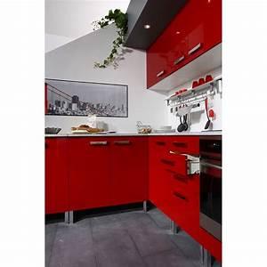 Meuble Bas 2 Portes : meuble bas 2 portes et 2 tiroirs glossy rouge ~ Dallasstarsshop.com Idées de Décoration