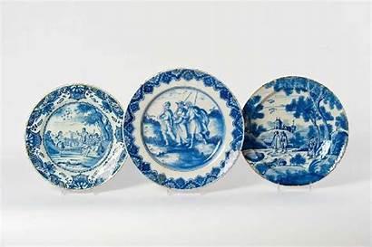 Blauw Venduehuis Afkomstig Eeuw Aardewerk Drie Porceleyne