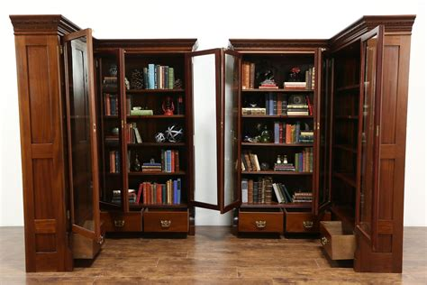 Corner Bookcases With Doors by Sold Pair 1890 Antique Mahogany Library Corner Bookcases
