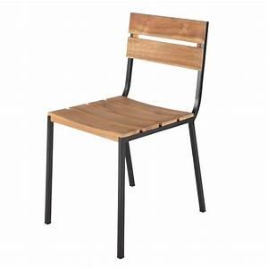 Chaise De Jardin Metal : chaise de jardin en m tal et acacia noire square maisons ~ Dailycaller-alerts.com Idées de Décoration