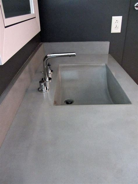 integrated bathroom sink and countertop hand crafted concrete countertop and integrated sink by
