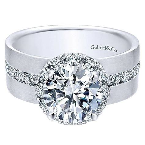 white gold wide brushed channel set diamond engagement