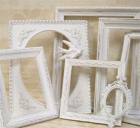 large white shabby chic picture frame shabby chic frames picture frames white by mountaincoveantiques