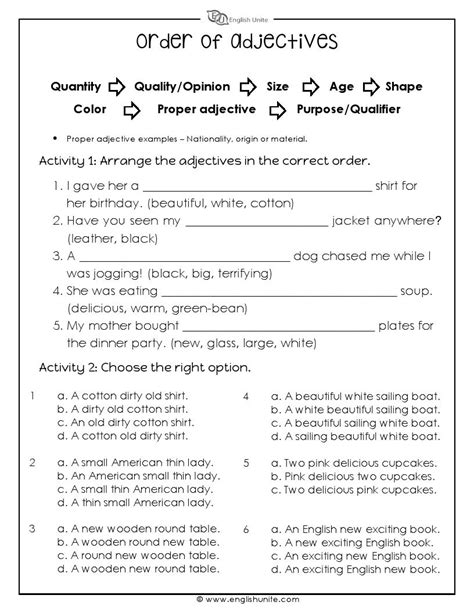 the order of adjectives worksheet education