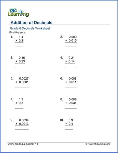 grade 6 math worksheets addition of decimals in columns k5 learning