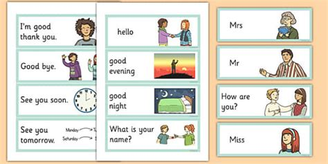 English, Greetings Flashcards